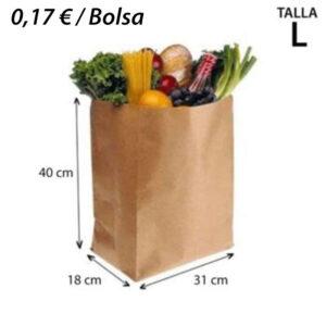 250 BOLSAS PAPEL KRAF SIN ASA 31+18x40