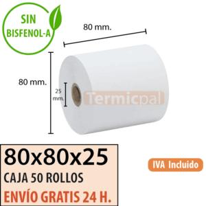 50 rollos papel termico 80x80x25
