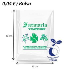 500 BOLSAS PLASTICO BIODEGRADABLE FARMACIA 15X30
